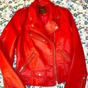 Zara Red Biker Leather Jacket Small NWOT